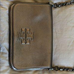 Tory Burch crossbody bag in gun metal grey.